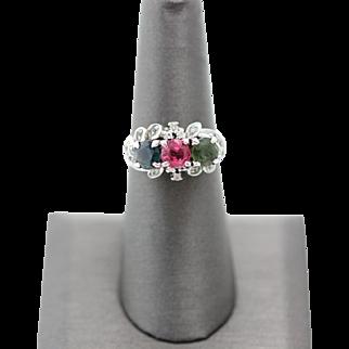 Vintage Multi Colored Tourmaline Diamond Ring