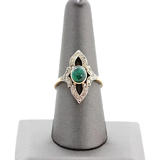 Vintage Cabochon Emerald and Diamond Ring