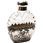 Antique Hanau Silver Mounted Glass Spirit or Hip Flask Germany 19th Century