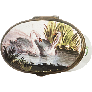 Enamel Patch Box from Staffordshire Bilston or Battersea with Swans English 18th Century