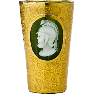Moser Gilded Green Glass Cup or Beaker with Simulated Cameo Portrait in Enamel Bohemian 19th Century