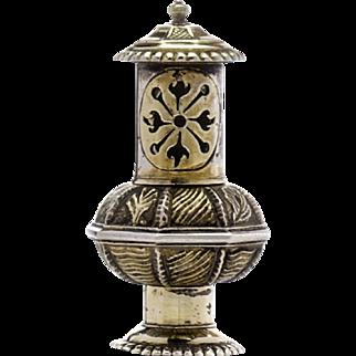 18th Century Continental Gilt Silver Scent Box Pomander or Vinaigrette