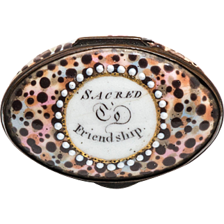 South Staffordshire Enamel Patch or Snuff Box with Motto, Rare Tortoiseshell Ground, 18th Century
