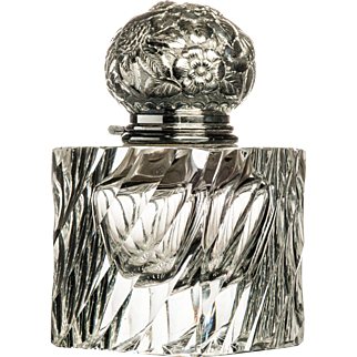 Huge Cut Glass Inkwell with Silver Plated Top