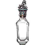 Antique Glass Scent or Perfume Bottle Figural Putto in Silver with Seed Pearl and Case France c.1850