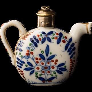 Teapot Form Porcelain Scent or Perfume Bottle 19th Century European