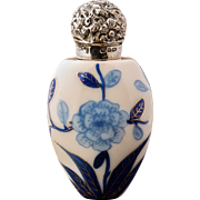 Antique Blue and White Porcelain Scent or Perfume Bottle 1890 Birmingham