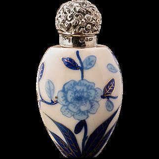 Antique Blue and White Porcelain Scent or Perfume Bottle 1890 Birmingham