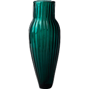 Mold Blown Ribbed Teal Glass Scent or Pungent Bottle 19th Century America or England