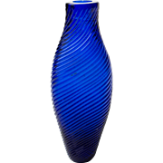 Mold Blown Ribbed Cobalt Blue Glass Scent or Pungent Bottle 19th Century America or England