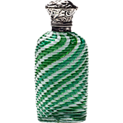 Antique Silver Mounted Ribbed Latticino or Filigrana Glass Scent or Perfume Bottle Continental 19th Century
