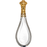 19th Century French Gold Mounted Teardrop Form Cut Glass Scent Bottle