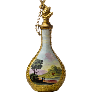 Antique Staffordshire Enamel Scent Bottle with Figural Stopper England 18th Century
