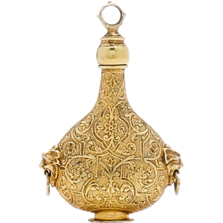 Antique Silver Gilt Casting or Scent Bottle in the Shape of a Pilgrim Flask German 17th Century