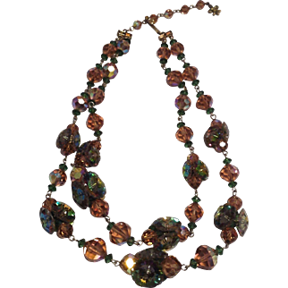 Beautiful Vendome Signed Double Crystal Choker  Necklace
