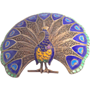 Colorful Peacock Pin / Brooch with Enamel Filigree  Marked Portugal 3 Dimensional