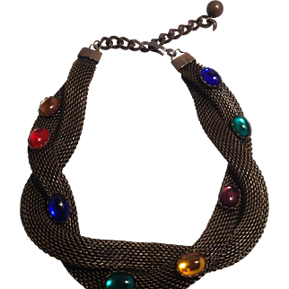 Brass Mesh and Glass Stone Choker Necklace