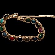 Silver tone colored  stone bracelet