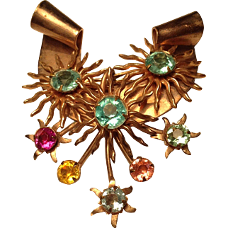 Unusual pink gold tone  1940s 50s pin