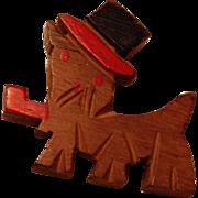Wood Scottie dog vintage pin