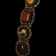 Vintage chunky stone and silver tone bracelet