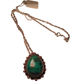 Jerusalem silver and turquoise pendant on a chain