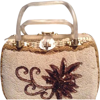 Tropical Miami Vintge Wicker White Satchel Purse