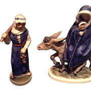 Vintage gobel west German nativity statues st joseph and flight into Egypt