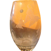 Lenox retired crystal butterfly etched heavy vase