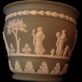Rare unusual shape Wedgewood sage green jasper ware bowl or planter