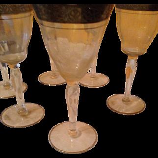 Set of 6 silver leaf crystal small wine glasses vintage