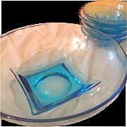 Mid century modern blue glass salad chip bowl set