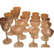 Set of 16 cut crystal and etched vintage wine glasses cordials water goblet