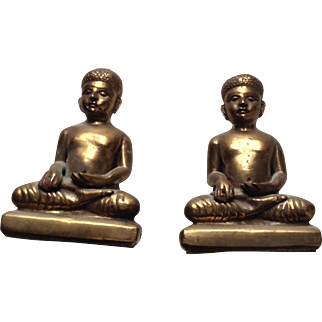 Vintage brass small Buddha bookends