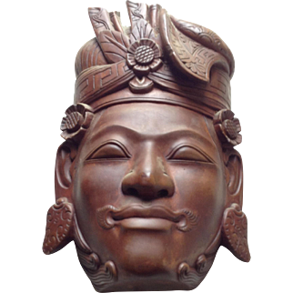 Vintage clay carved Asian / Nepal mask