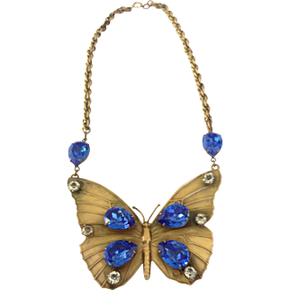 Rare Vintage Joseff of Hollywood Large Butterfly Runway Piece with Stones