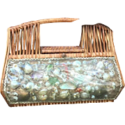 Fabulous Vintage wicker mil jack Miami seashell bag