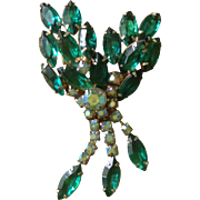 Vintage D & E Juliana floral spray pin with hanging rhinestones