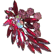 D&E Juliana vintage  red and pink  floral spray pin