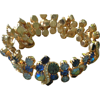 Stunning vintage Czech glass blue and clear stone bracelet