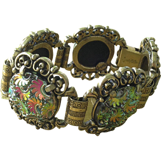 1960s signed Judy Lee stunning and unusual paisley style glass cabochon bracelet
