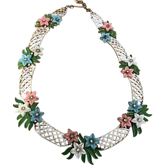 Rare signed Trifari Enameled  Basket Weave floral necklace