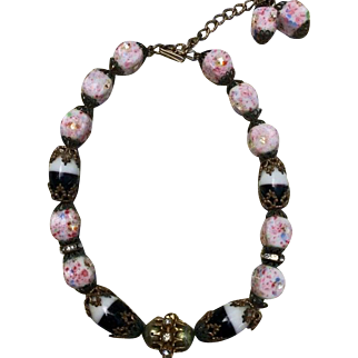 Vintage Czech and Venetian Glass beaded Choker necklace