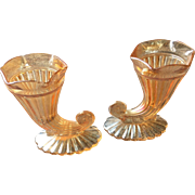 Vintage carnival glass cornocupia pair
