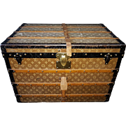 Antique Louis Vuitton Monogram Woven Canvas Trunk