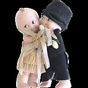 """3.5"""" Kewpie Bride & Groom Huggers all original"""