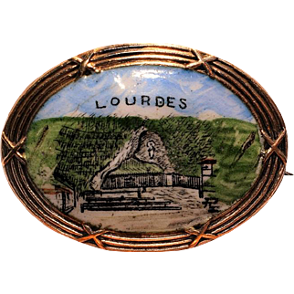 Lourdes Grotto, France, Early Souvenir Hand Painted Enameled Porcelain Brooch
