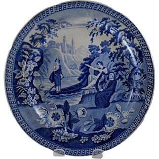 Carey's Lady of the Lake Blue and White Plate