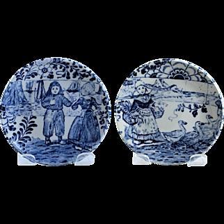 Boch Delfts Miniature Plates Set of 2