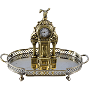 Brass Memorial Desk Clock with Swiss Movements in Sterling Case